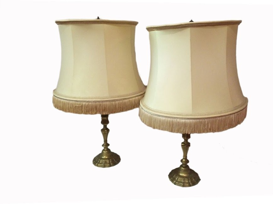 Pair of Bronze Candle Holder Lamps