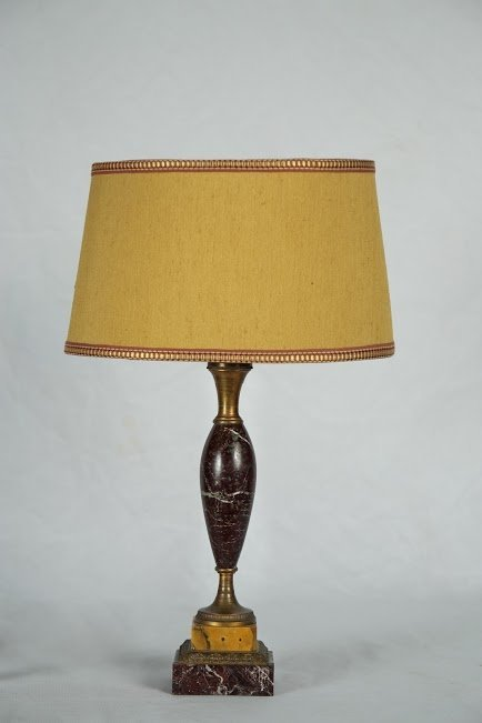 A Neoclassical Marble and bronze lamp