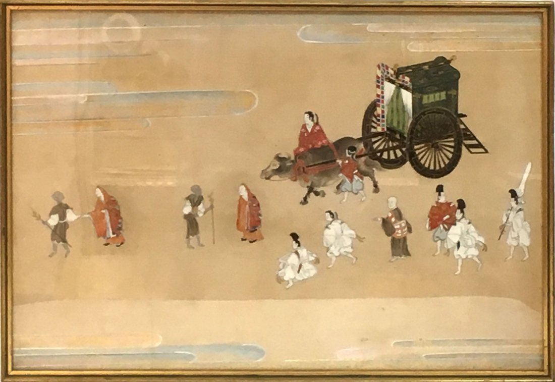 Antique Chinese  painting and needlework on silk