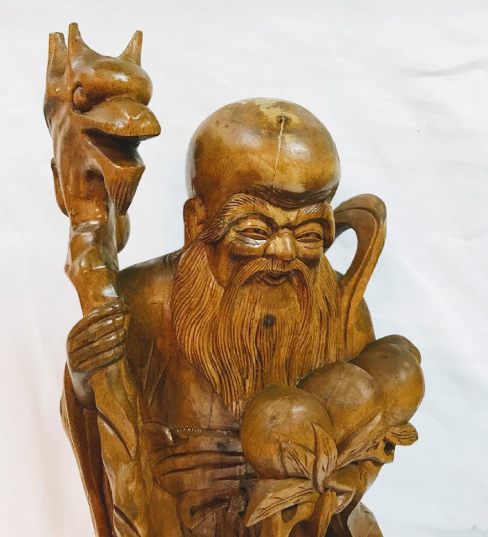 Chinese Vintage Wood Carving of Old Man - 2