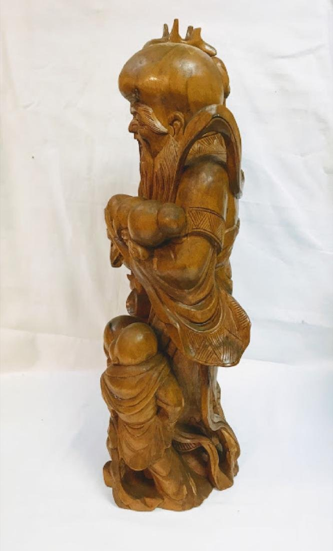 Chinese Vintage Wood Carving of Old Man - 4