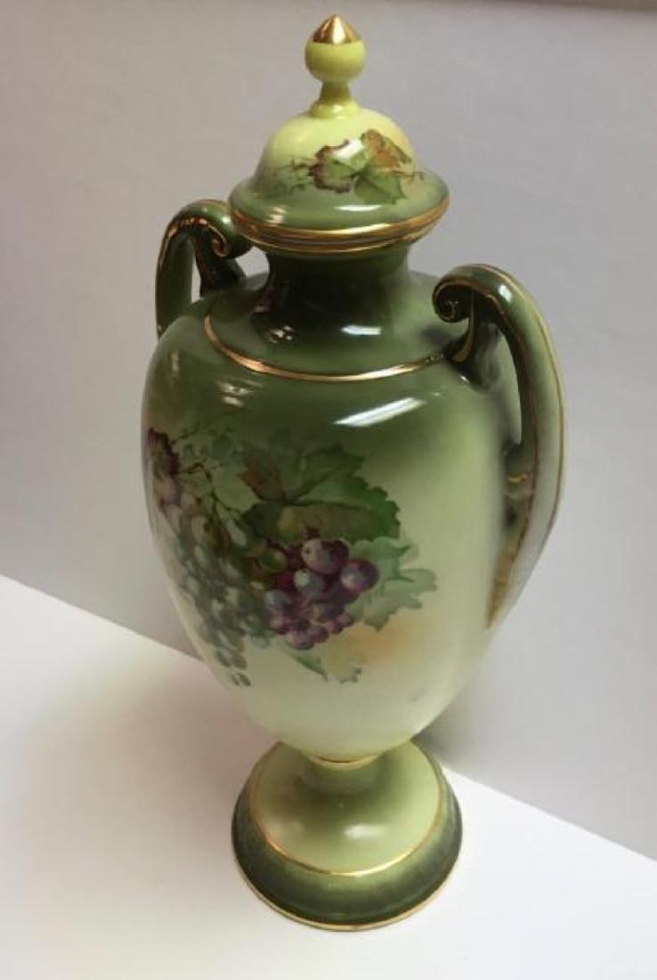 """Vintage Jaeger & Co Porcelain """"Fruit Motif"""" Urn - 3"""
