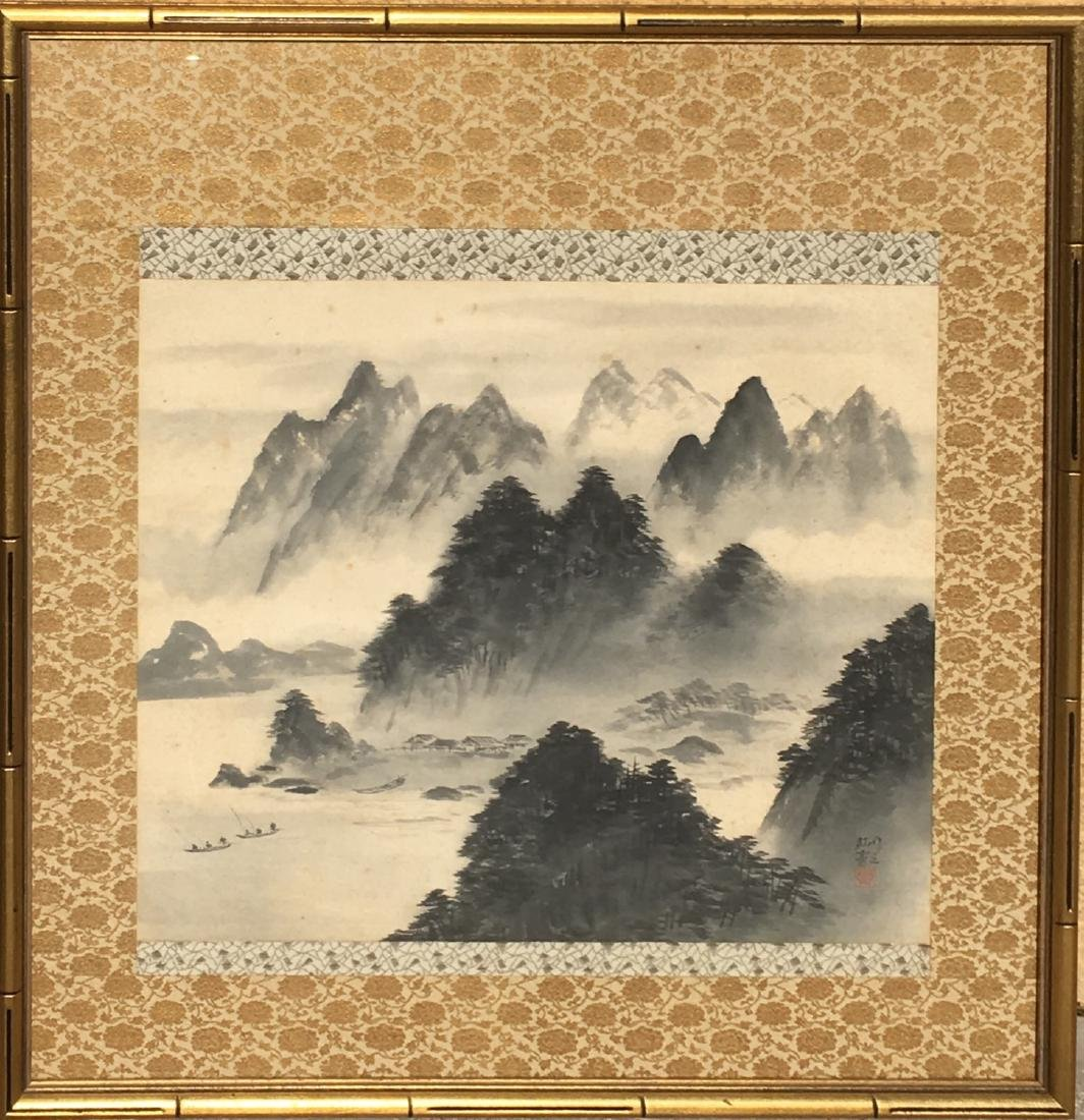 Vintage Framed Chinese Watercolor Painting Scroll