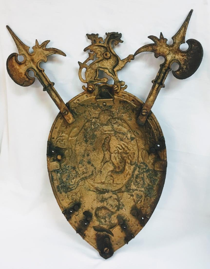 Antique cast bronze  weIsh coat of arms  Medieval style - 5
