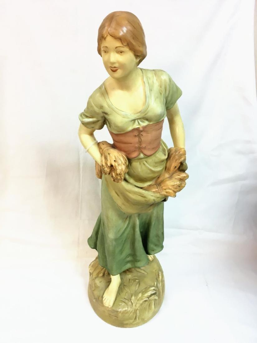 Antique Bohemian porcelain figurine Woman 22 inches