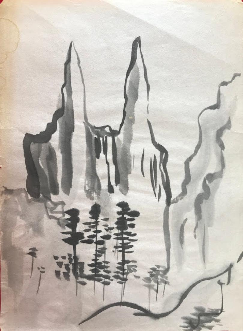 Vintage Japanese ink on rice paper drawing  signed