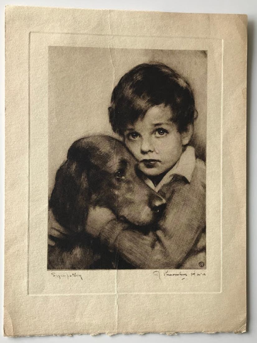 Antique etching Boy with Dog  signed
