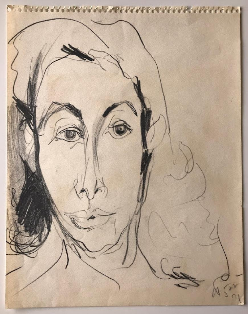 Vintage Potrait   ink and paper unknown artist