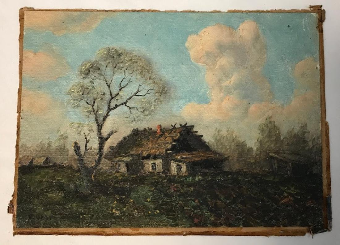 Antique 19 century Russian painting signed monogrant