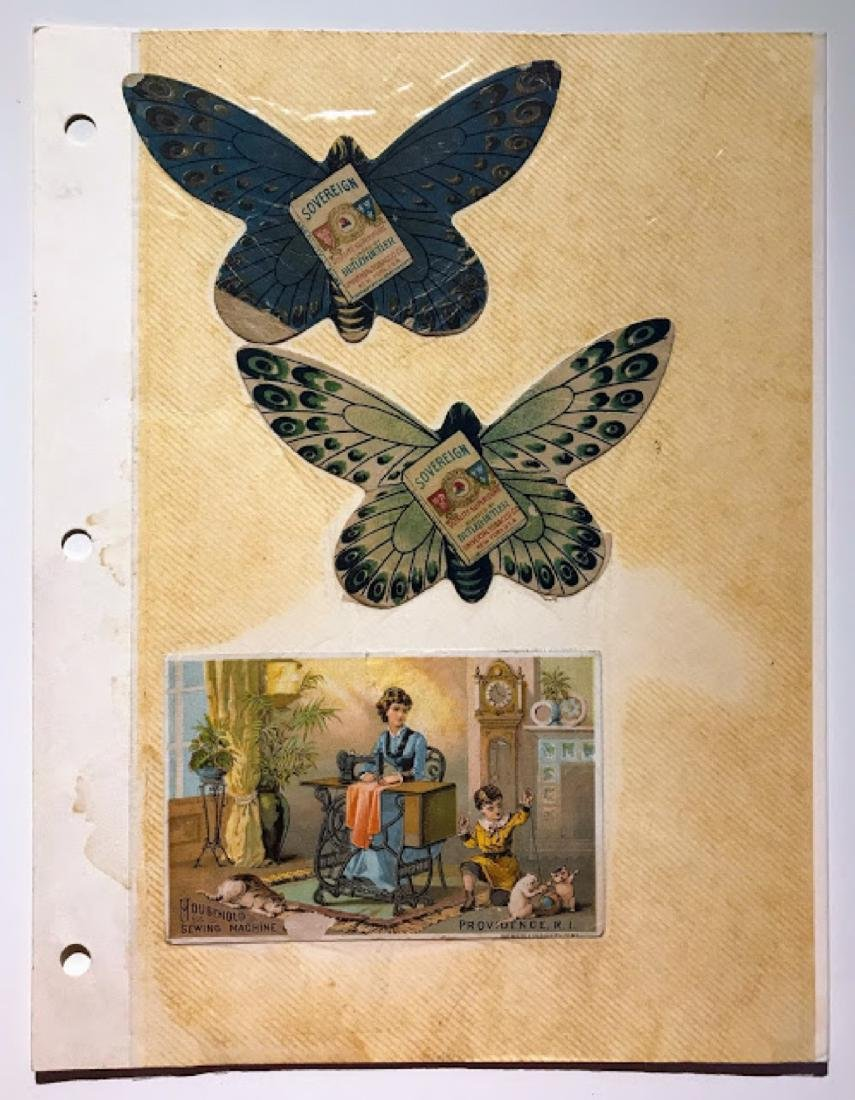 Antique Sewing Advertising Cards, Printed Sheet, Fabric