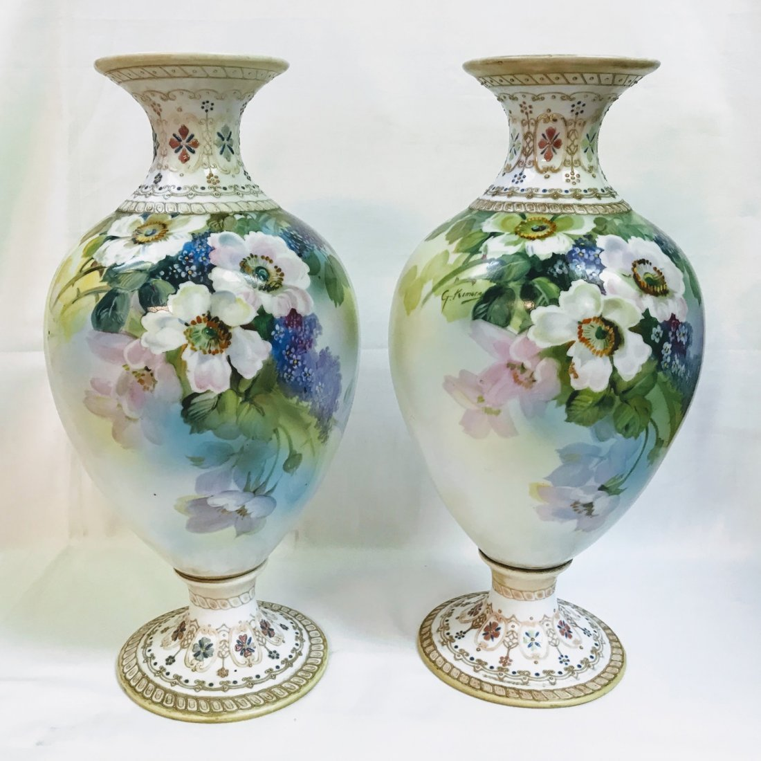ANTIQUE Pair NIPPON VASE Hand Painted Flowers With Gold
