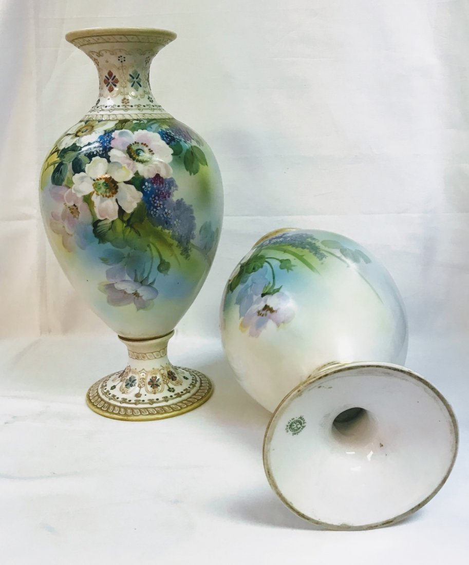 ANTIQUE Pair NIPPON VASE Hand Painted Flowers With Gold - 6