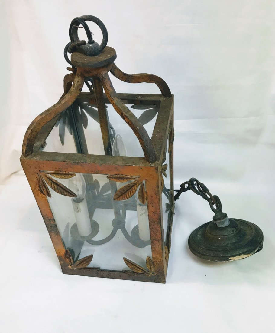 Antique  English Victorian Painted Cast Iron  Lantern - 4