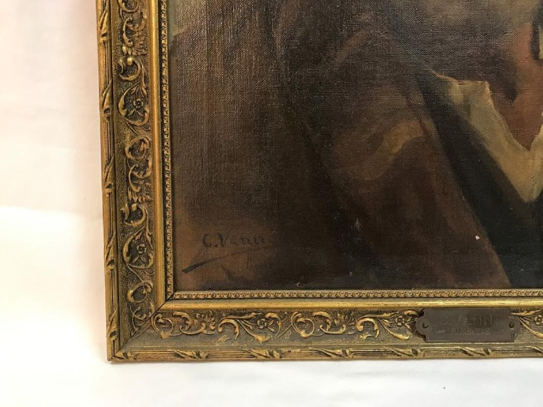 Antique Oil on Canvas signed C.Vanni  Firenze - 3