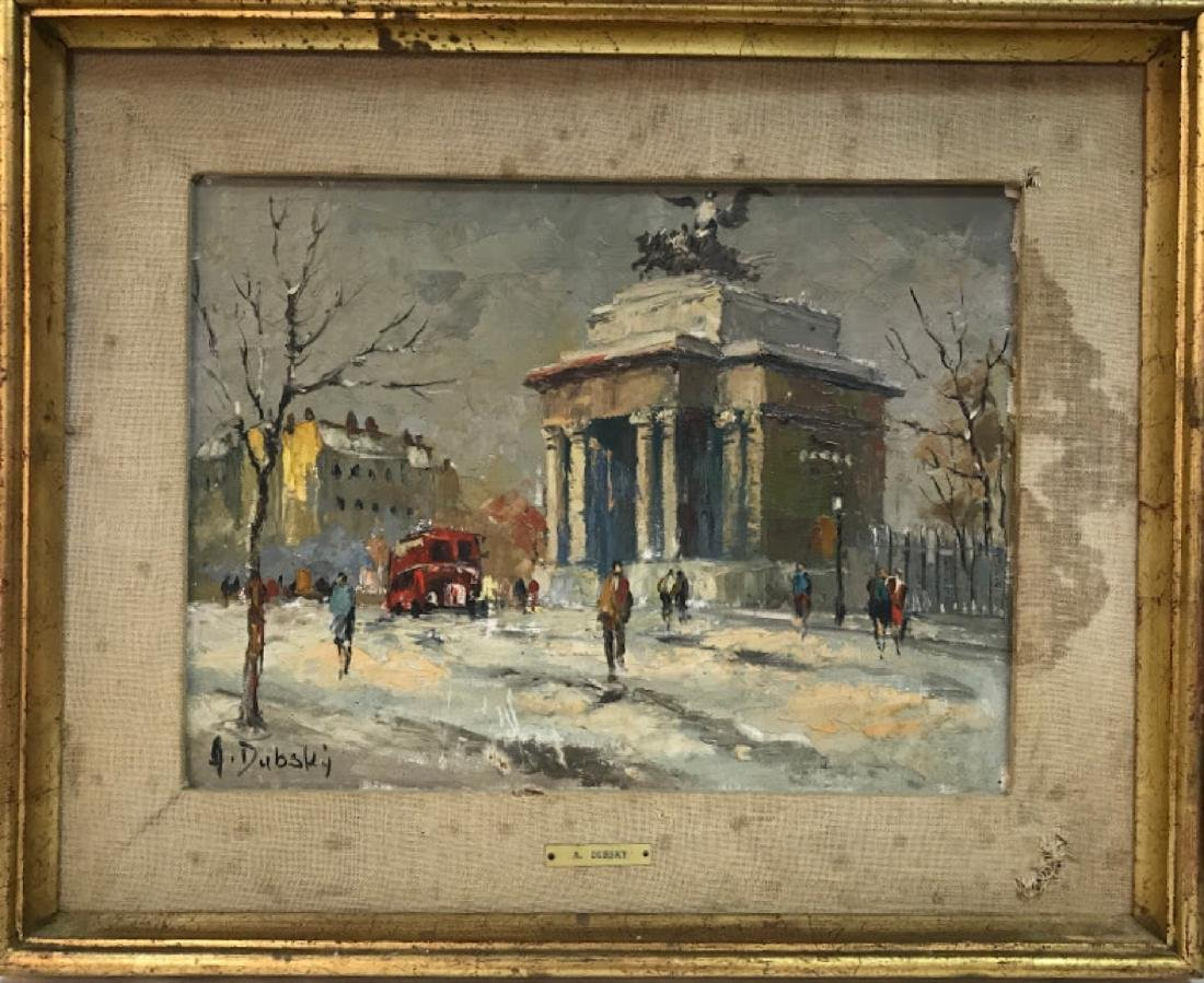 OIL PAINTING WINTER STREET SCENE Signed DUBSKY