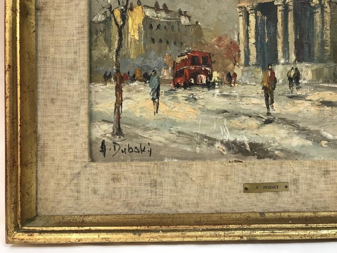 OIL PAINTING WINTER STREET SCENE Signed DUBSKY - 3