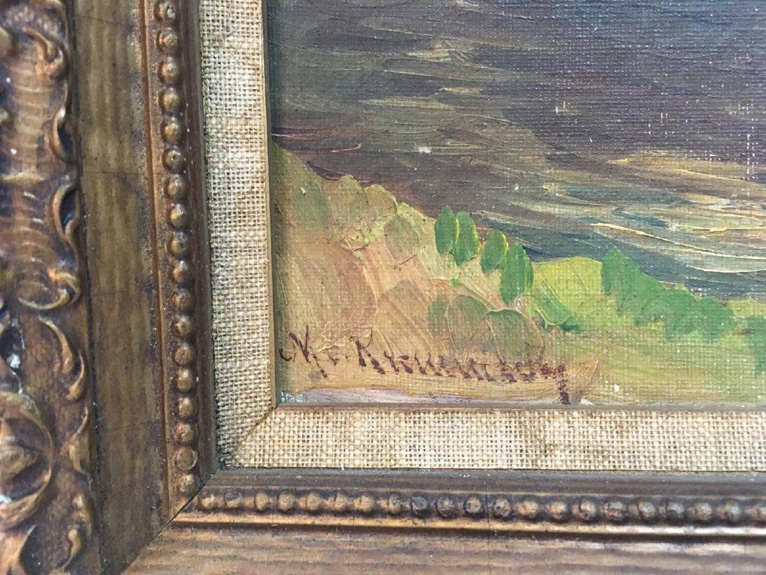 Antique oil on carboard signed ilegible - 3