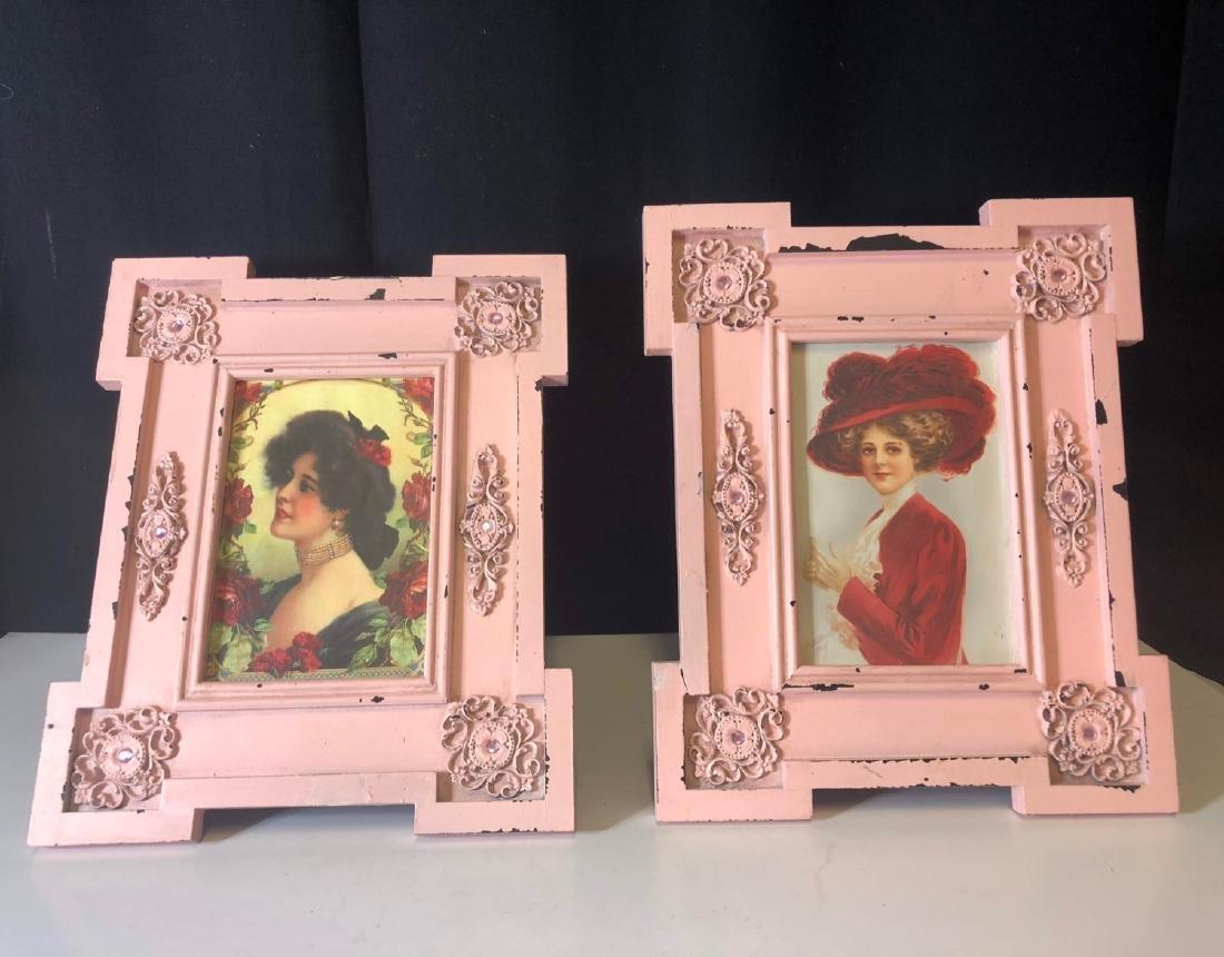 antique 1930  pink art nouveau frame