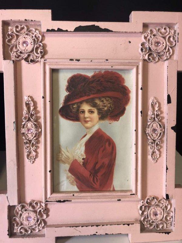 antique 1930  pink art nouveau frame - 2