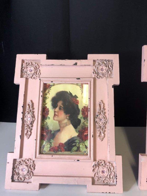 antique 1930  pink art nouveau frame - 3