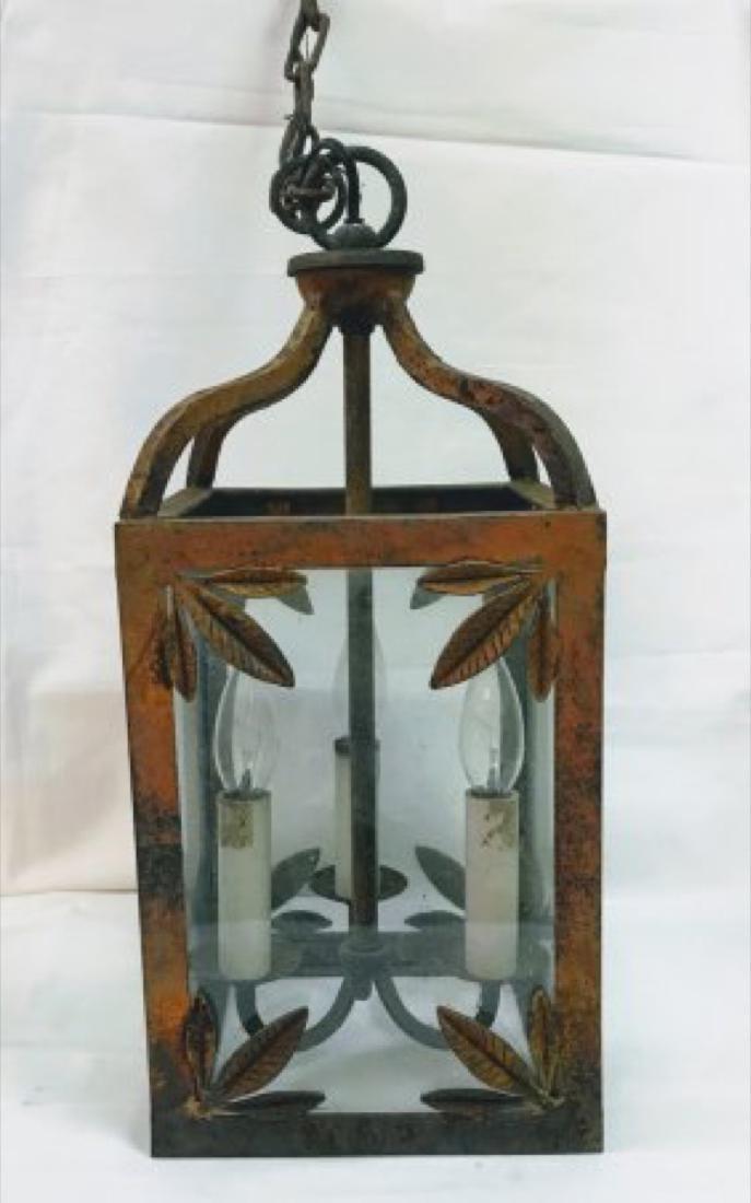 Antique  English Victorian Painted Cast Iron  Lantern