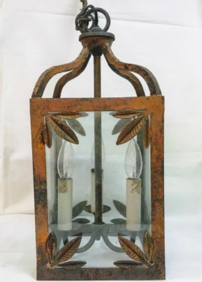 Antique  English Victorian Painted Cast Iron  Lantern - 2
