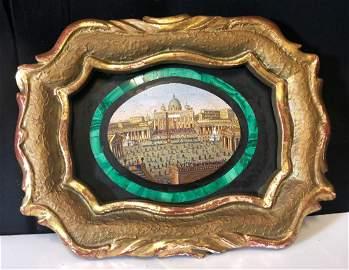 Rare 19th C. Italian Micro Mosaic and Malachite Plaque
