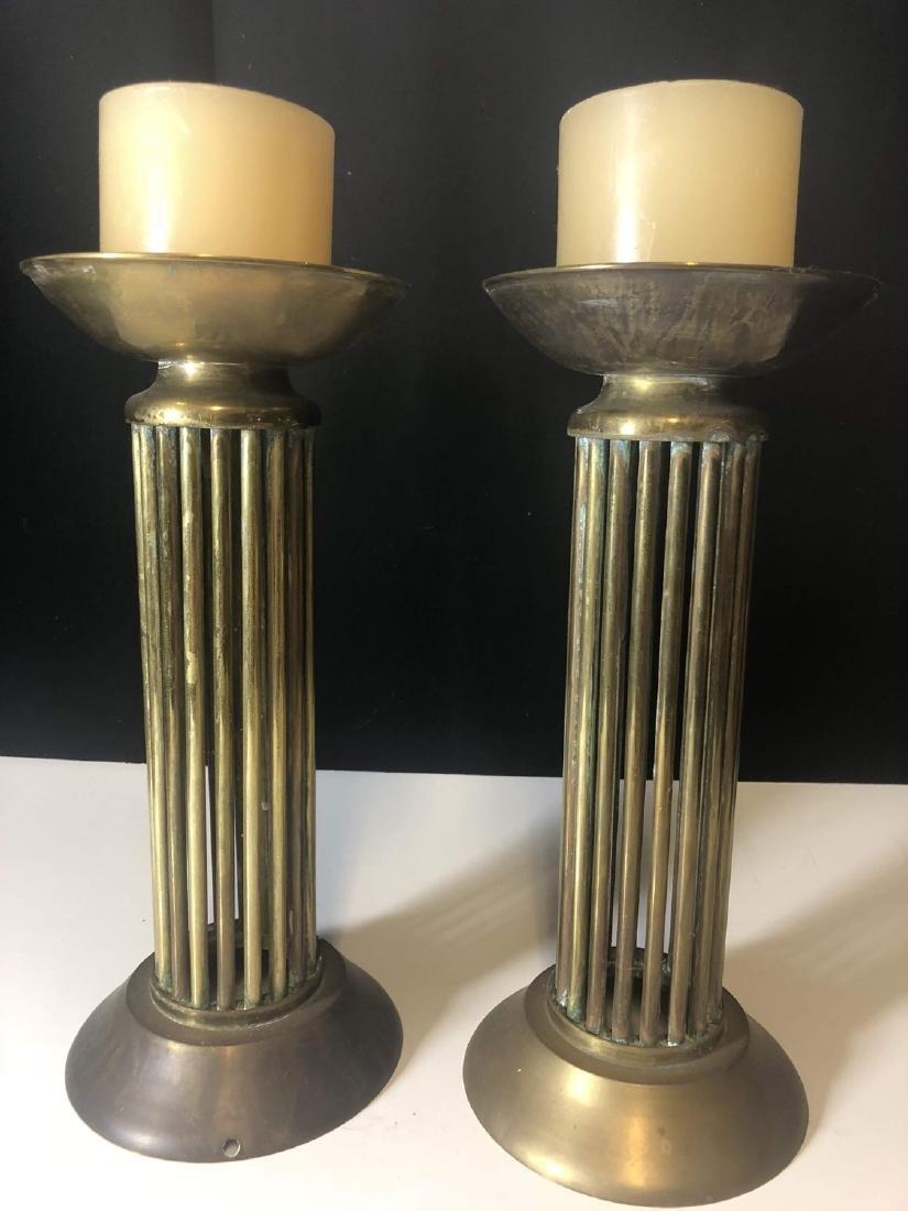 Vintage pair Brass Candelabra's Mid century - 3