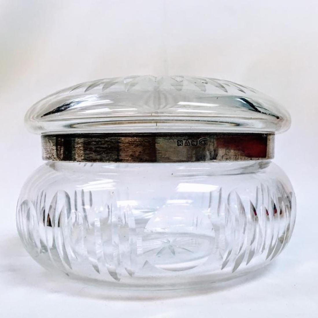 ANTIQUE STERLING SILVER LIDDED CUT GLASS POWDER JAR