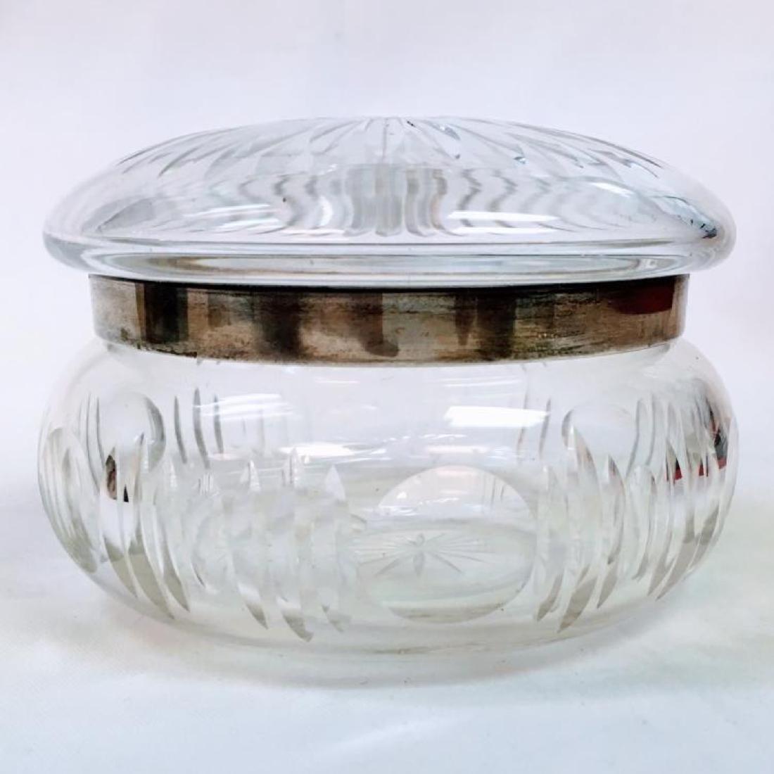 ANTIQUE STERLING SILVER LIDDED CUT GLASS POWDER JAR - 4