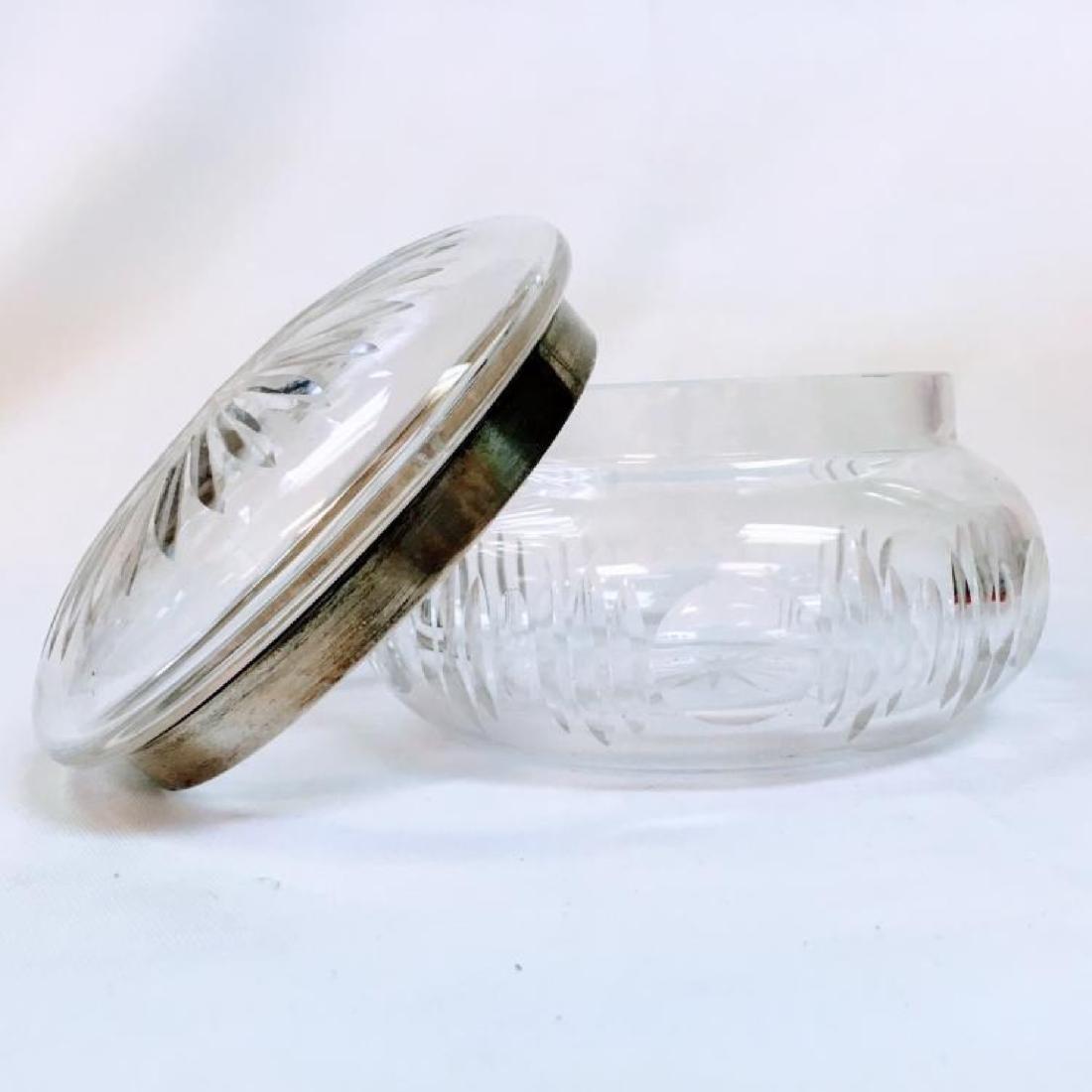 ANTIQUE STERLING SILVER LIDDED CUT GLASS POWDER JAR - 5