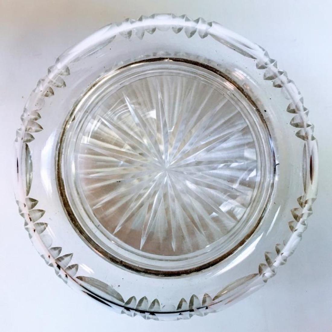 ANTIQUE STERLING SILVER LIDDED CUT GLASS POWDER JAR - 7