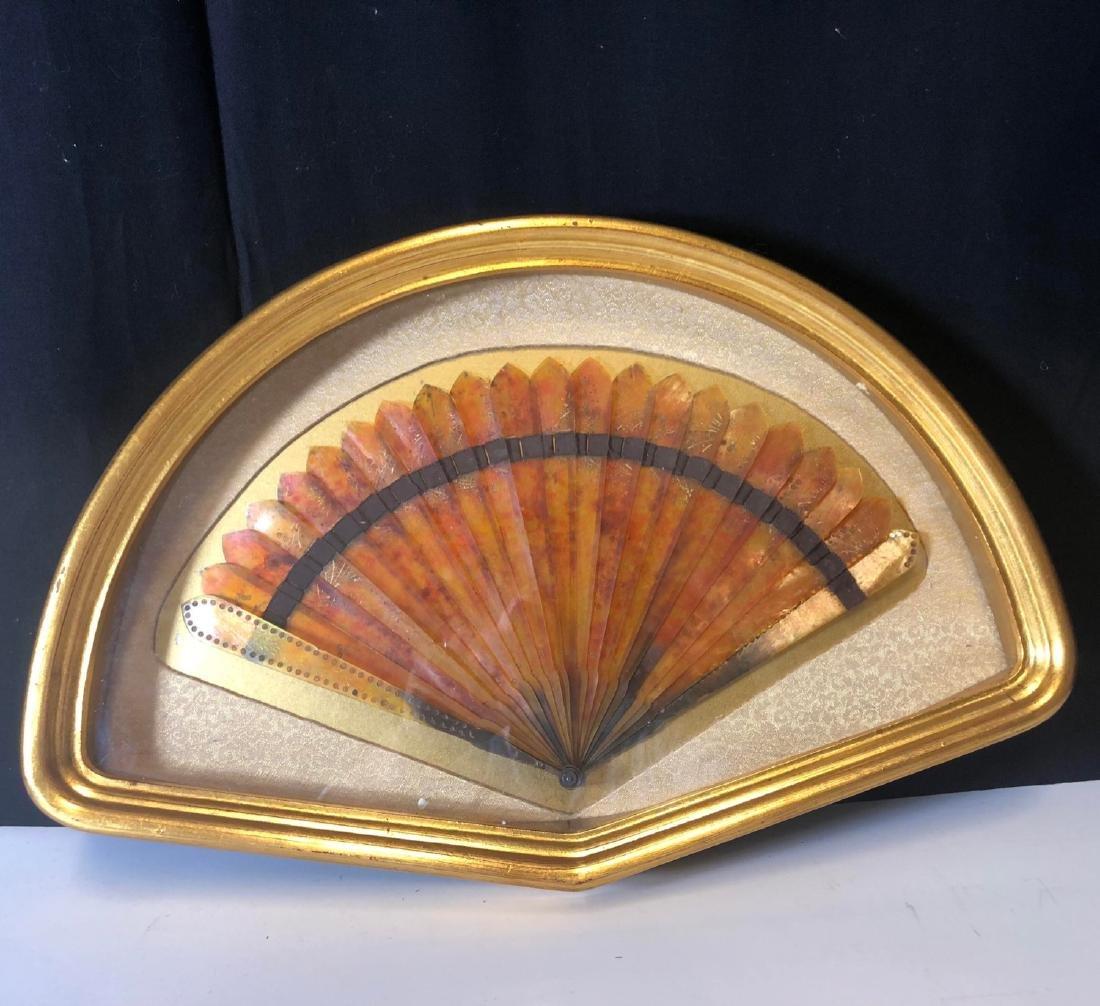 Vintage tortoise shell fan with framed
