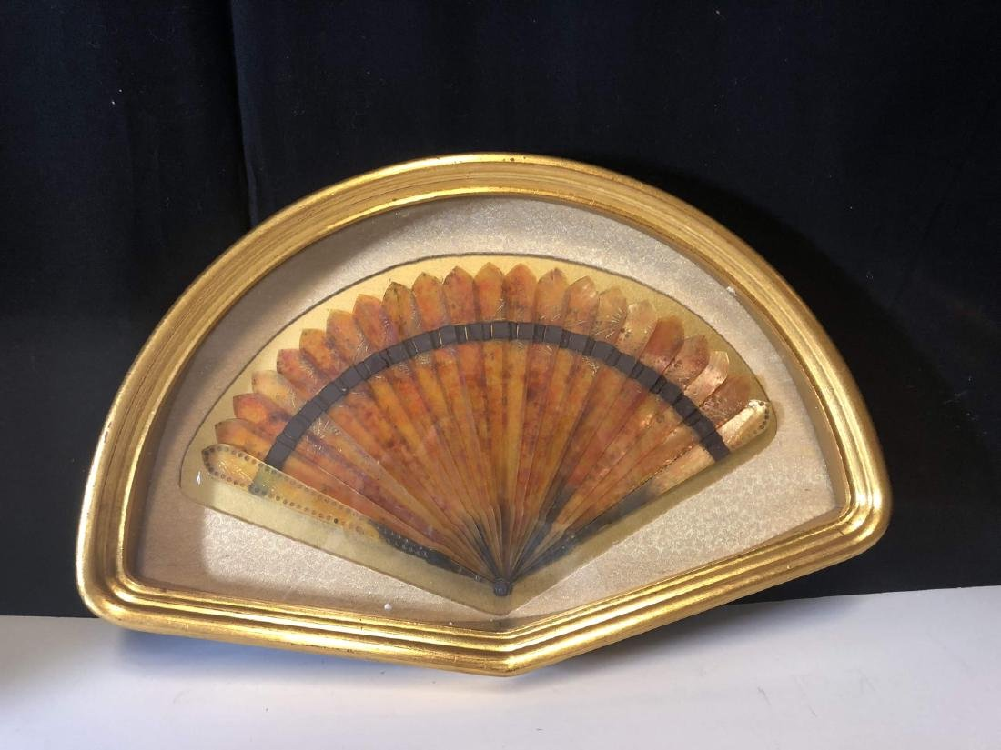 Vintage tortoise shell fan with framed - 2