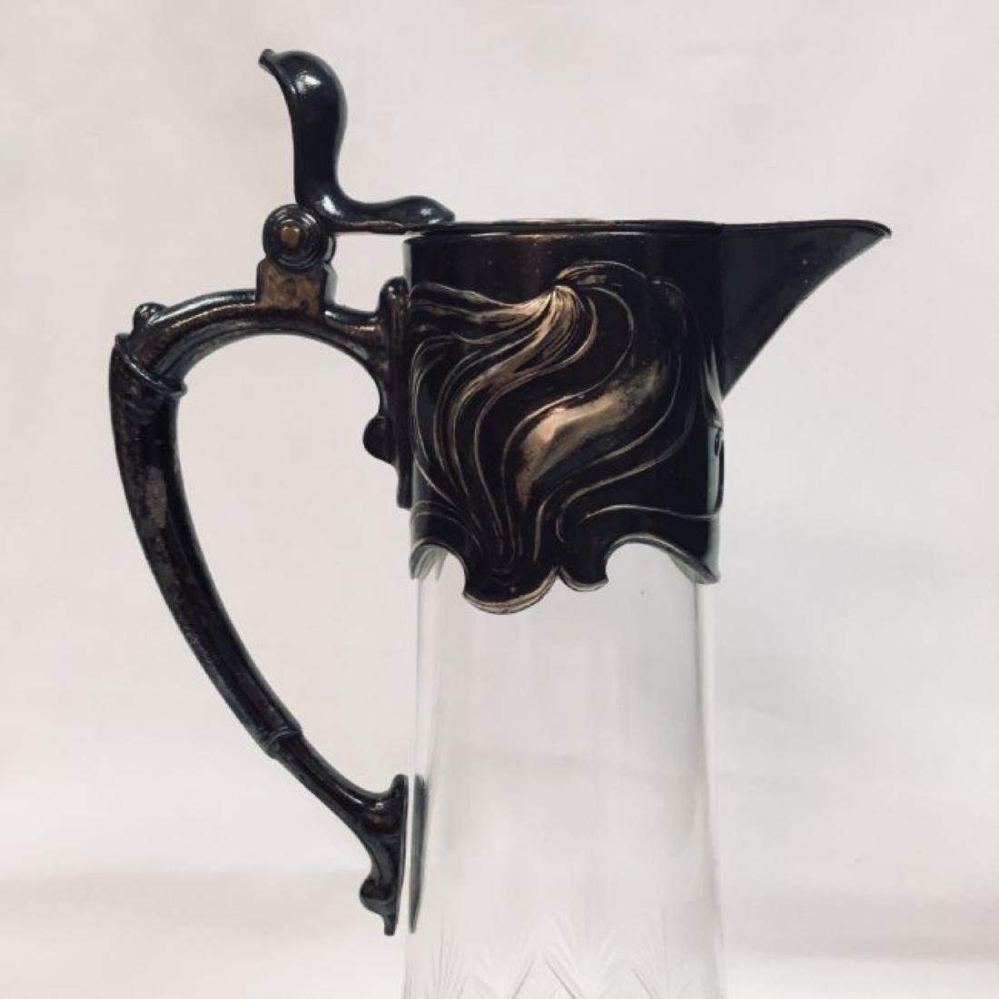 Antique WMF German Silver Claret Jug - Cut Crystal Wine - 3