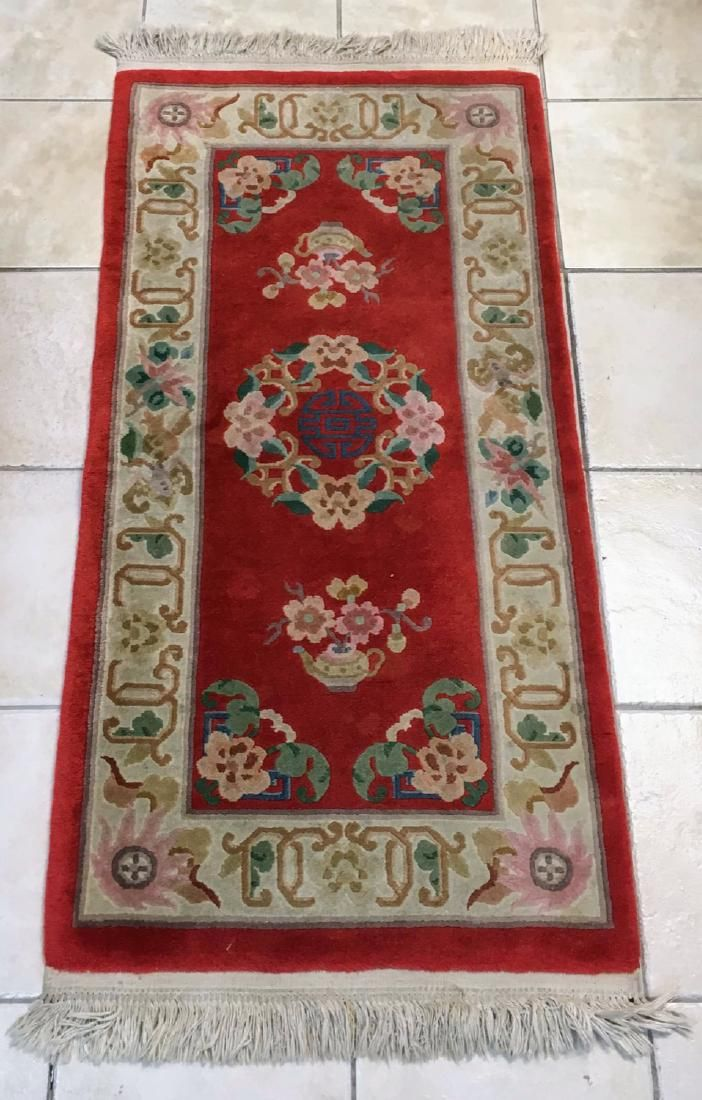 Vintage Handmade Vintage Art Deco Chinese Rug