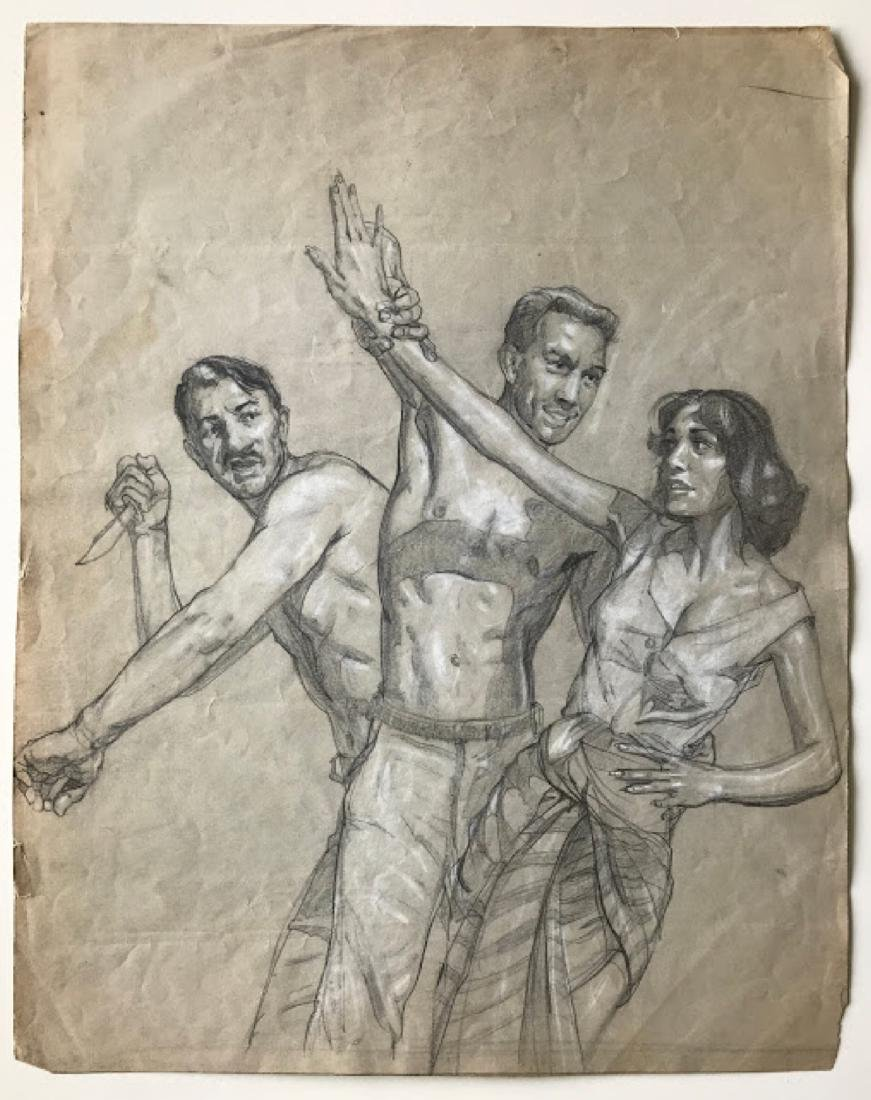 Antique ink on paper unknown artist