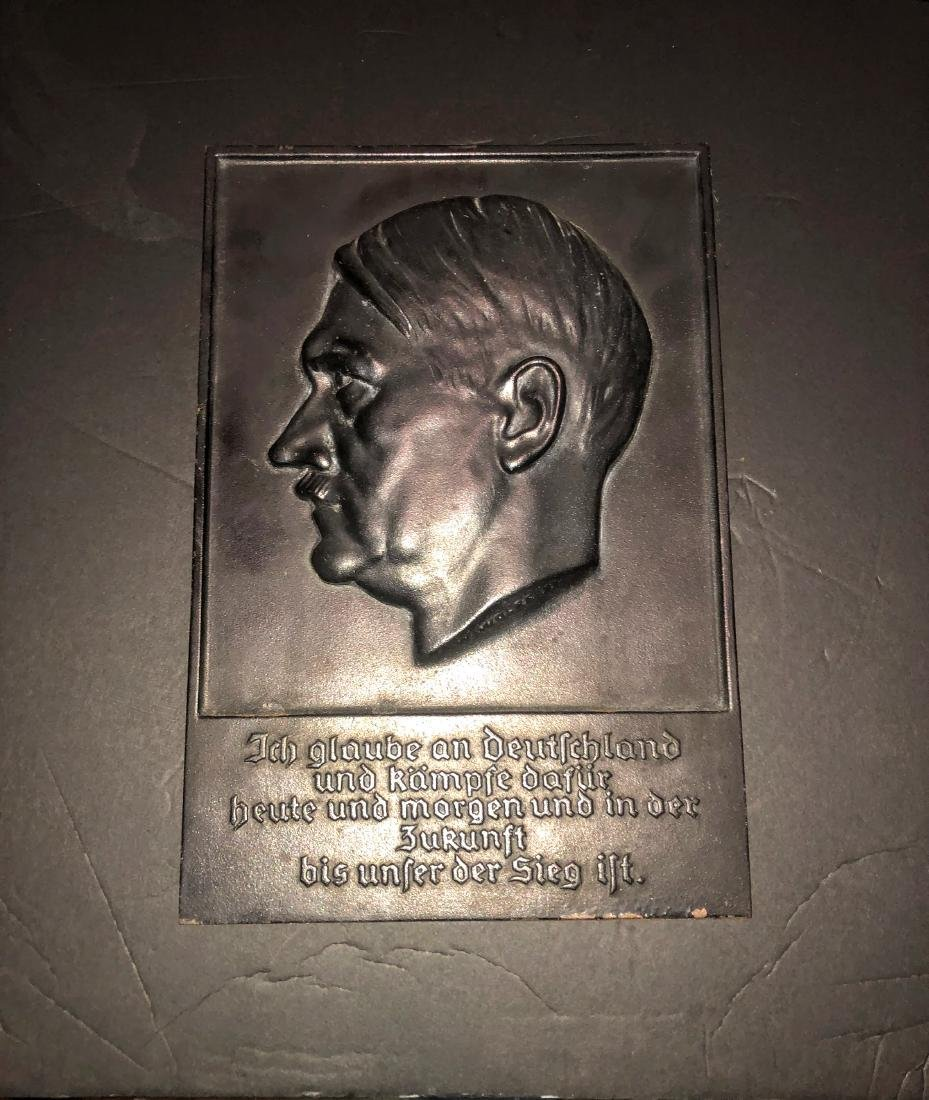 Cast iron bust of Adolf Hitler wall plaque, artist mark