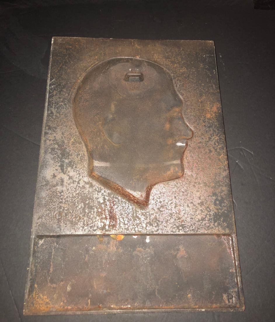 Cast iron bust of Adolf Hitler wall plaque, artist mark - 2