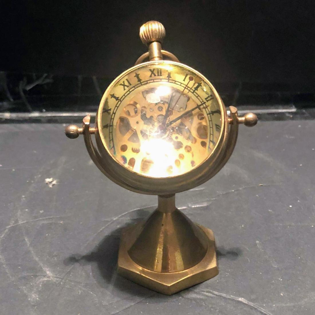 Antique Luxury Desk Table Clocks Big Ball Magnifying