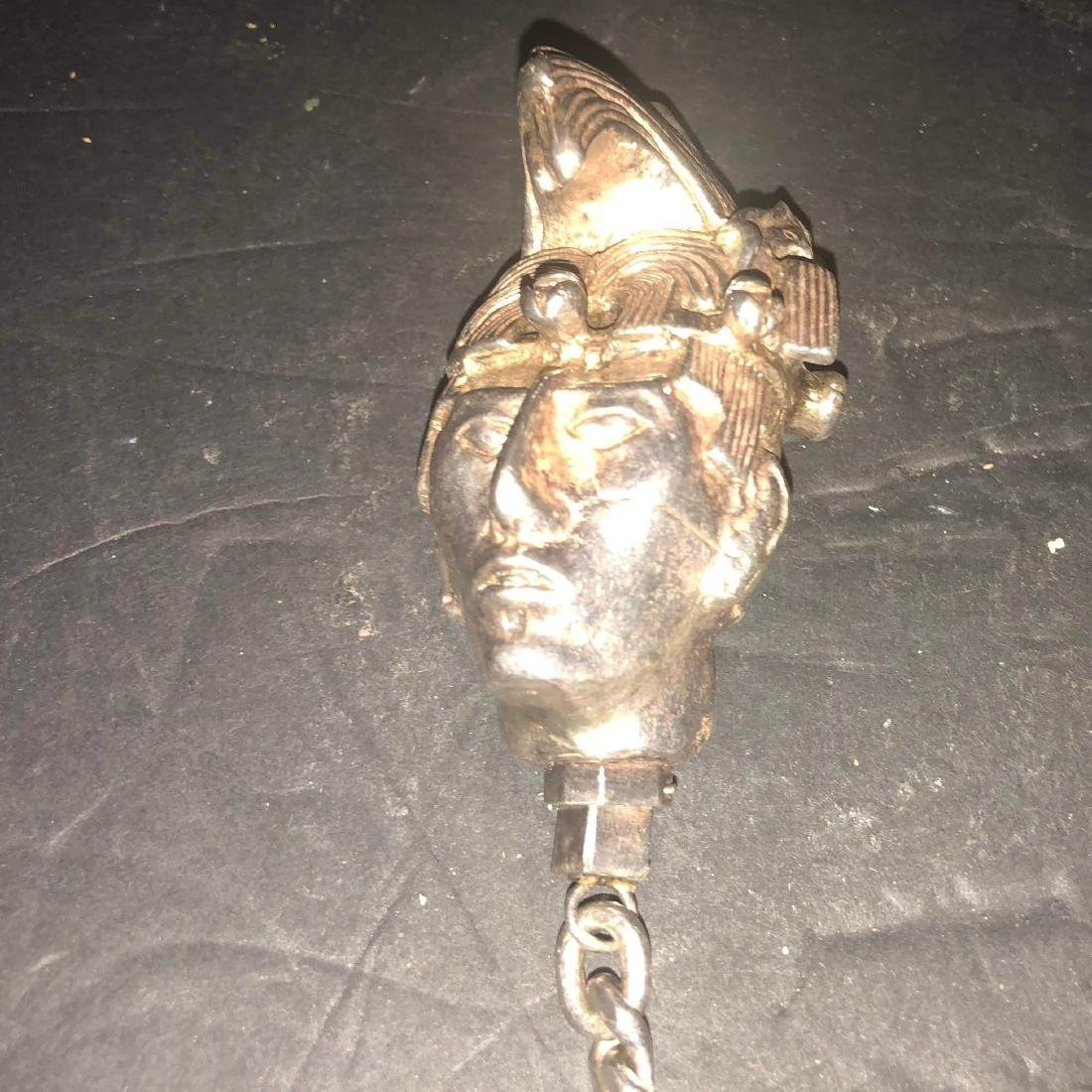 Vintage sterling silver mexican head mayan keychain - 2