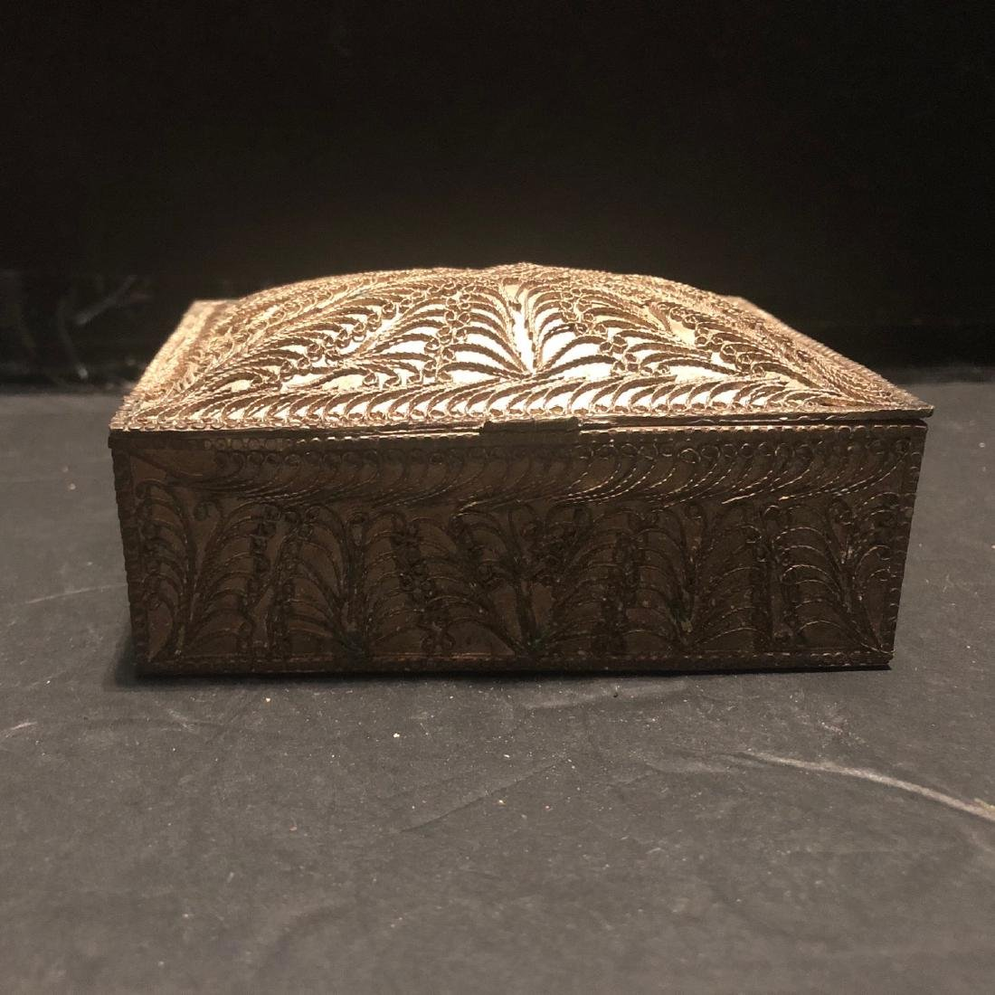 Antique Persian Solid Silver Cigarette Box 1890 - 2