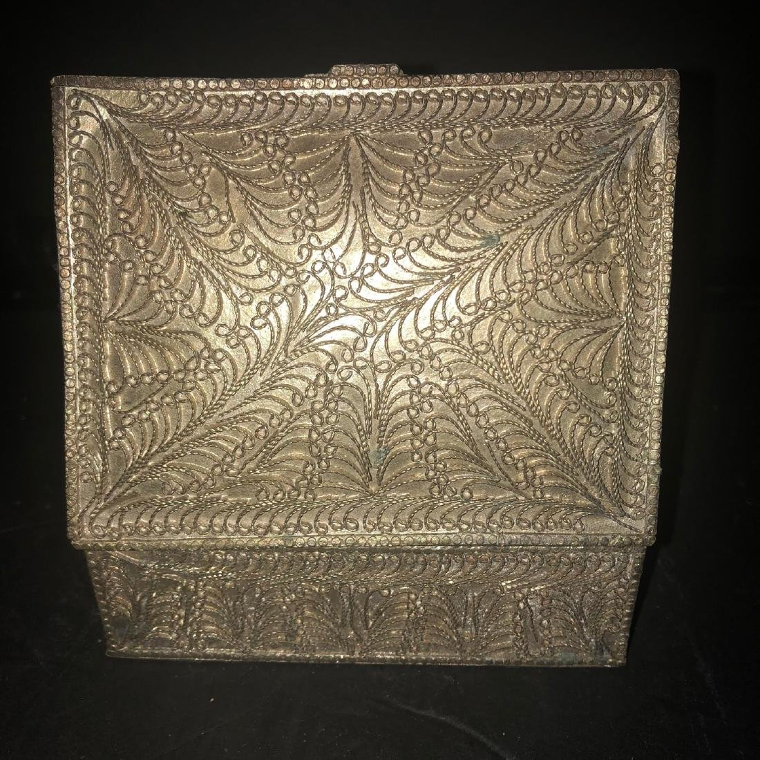 Antique Persian Solid Silver Cigarette Box 1890 - 5