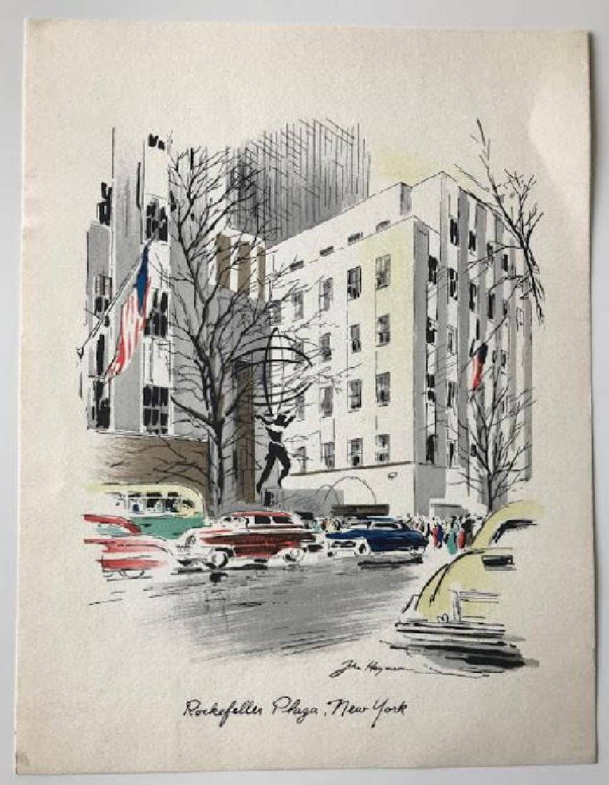 Set of 4 signed Watercolor Prints by John Haymson