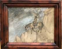 Antique Americana Native American Indian watercolor