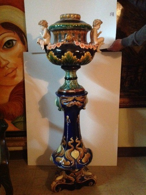 Majolica Porcelain Vase and Stand