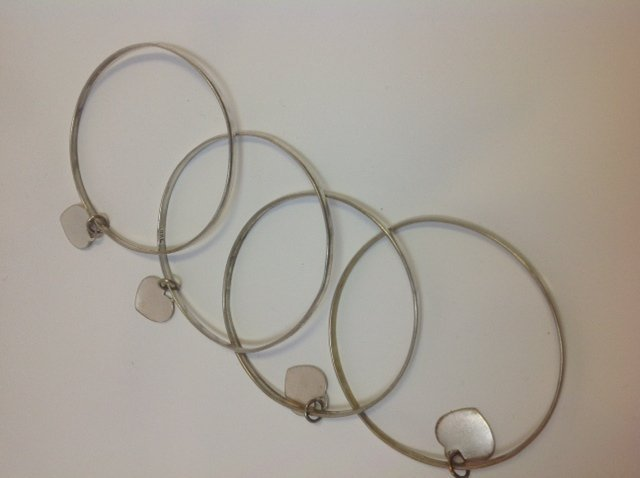 Sterling Silver Heart Bangles