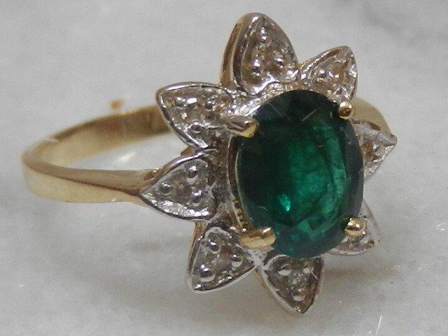 Gold Emerald & Diamond Star Ring