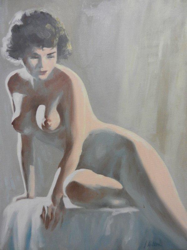 "Vintage Milton ""Naked Woman"" oil on canvas"