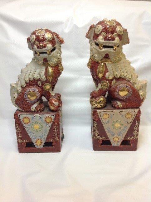 Vintage Japanese Moriage Foo Dogs